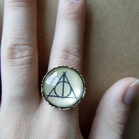 Deathly Hallows Ring - Bronze - Harry Potter - Luna Lovegood - adjustable
