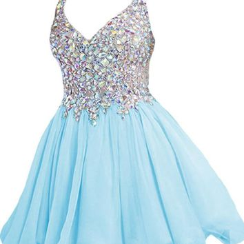 A Line Blue Homecoming Dress with Straps