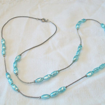 Vintage Blue Pearl Necklace Rice Krispie Korea