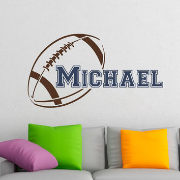 Initial Name Wall Decal American Football Wall Decals Personalized Initial Name Monogram Nursery Kids Boys Room Playroom Bedroom Decor M033