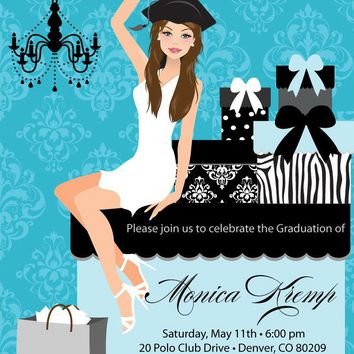Beautiful Graduate Graduation Party Invitations