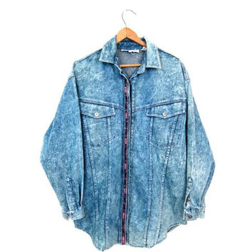 Vintage 80s Acid Wash Jean Shirt Slouchy Button Down Denim Shirt Southwestern Embroidered Printed Jean Shirt Hipster Punk Rock Medium Large