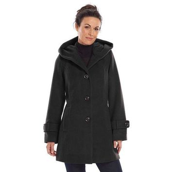 DCCKX8J Croft & Barrow Hooded Peacoat - Women's