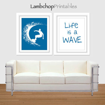 Boys surf art, Life is a Wave, Water Blue, 8x10, college dorm room art, teen boy art, surfer poster, surfing, inspirational surf quotes