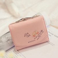 Fashion PU Faux Leather Women Small Wallet Letter Print Card Holder Zip Coin Purse Clutch Coins Wallet Purses Pockets1STL SN9