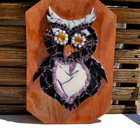 Owl Mosaic Artwork. Mixed Media Boho Woodland Art. Trendy Home Decor Wall Hanging. Stained Glass and Glass Tile Animal.