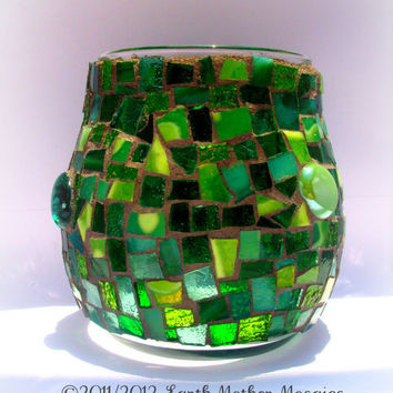 Candle Luminary Stained Glass Mosaic Green by earthmothermosaics