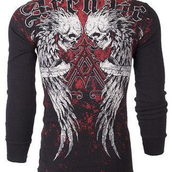 Licensed Official Archaic AFFLICTION Men THERMAL T-Shirt DOUBLE DEATH Skull Tattoo Biker M-3XL $58