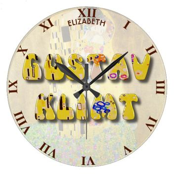 Gustav Klimt Letters On His Famous The Kiss Large Clock
