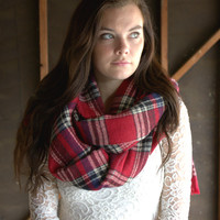 Red Cider Creek Plaid Scarf [6199] - $26.00 : Vintage Inspired Clothing & Affordable Dresses, deloom | Modern. Vintage. Crafted.