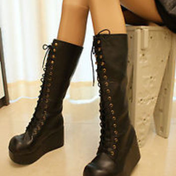 3.5' platform Black knee high lace-up boots shoes gothic lolita punk emo cosplay