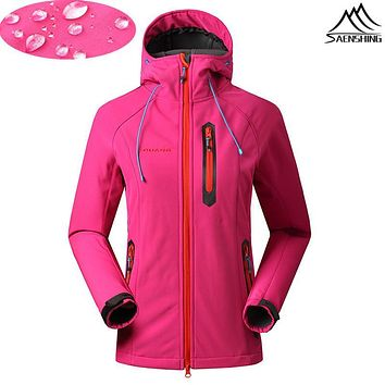 Waterproof Softshell Jacket Women Outdoor Camping Hiking Softshell Jackets Women Spring Windbreaker Chaqueta Impermeable Mujer