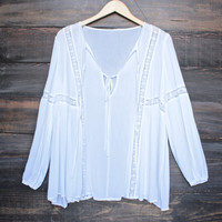 tie front lace accent tunic top in white