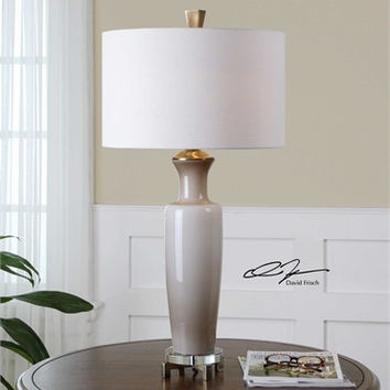 Uttermost Consuela Taupe Gray Glass Table Lamp