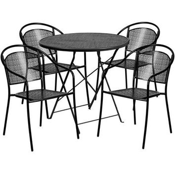 30'' Round Black Indoor-Outdoor Steel Folding Patio Table Set with 4 Round Back Chairs