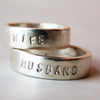 $195.00 husband and wife sterling silver wedding band pair by lovinganvil