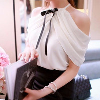 Elegant Womens Off Shoulder Halter Neck Bowknot Slim Chiffon Blouse Tops Shirt (Color: White) = 1958398404