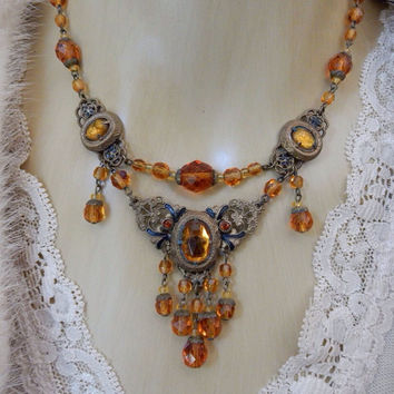 Amazing Art Nouveau Necklace and Earring Set Amber Topaz Crystal Necklace and Earrings Downton Abbey Jewelry
