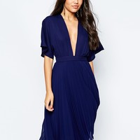 ASOS Kimono Sleeve Pleated Midi Dress