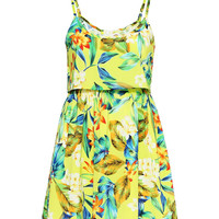 Tropical Print Mini Sun Dress
