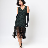 Iconic by UV Green Beaded Mesh Isadora Fringe Flapper Dress
