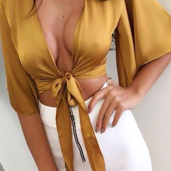 US-Womens-Ladies-Satin-Tie-Knot-Front-Flared-Sleeve-Plunge-Neck-Crop-Top-Blouse