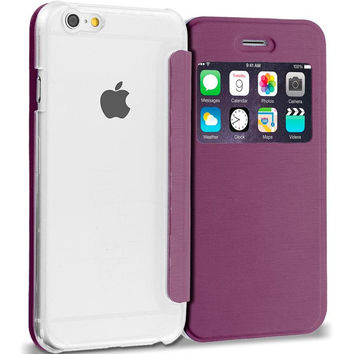 Purple Slim Hard Wallet Flip Case Cover Clear Back With Window for Apple iPhone 6 Plus 6S Plus (5.5)