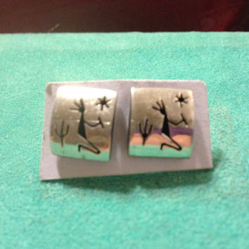 Hopi Sterling Earrings Squares Modern 925 Silver Kokopelli Navajo Zumi 70s Tribal Southwestern Native American Indian Vintage Jewelry New