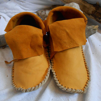 Gold Elk;/Deer Hide Short Moccasins, Traditional Buffalo Sole, Native American Custom Handmade, Handsewn by Lakota Artisan, Mountain Man