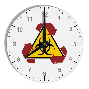 "Recycle Biohazard Sign 8"" Round Wall Clock with Numbers by TooLoud"