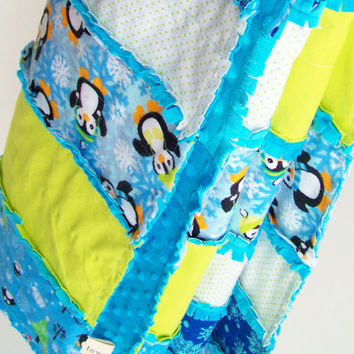 Rag Blanket Quilt Baby Toddler EXTRA LONG Penguins, Snowflakes, Lime Turquoise Gender Neutral DRC Congo Africa Adoption Fundraiser