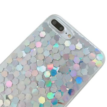 iPhone X Bling Case Sparkle Ombre Sequins Polka Dot Air Prism Glitter Translucent Soft TPU Flexible Slim 3D Design Case Cover for iPhone X (iPhone X, Mix)