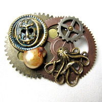 Steampunk Nautical Brooch - octopus, anchors, brass patina, pearl, hipster