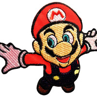 Mario Fly Iron Sew On Cartoon Gamer Embroidered Patch