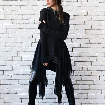 SALE NEW Black Asymmetric Tunic/Extravagant Long Short Top/Long Sleeve Party Top/Loose Polo Tunic/Thumb Hole Sleeve Blouse/Black Oversize Sh