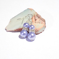 Purple glass pearl earrings