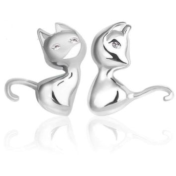 Women 925 Sterling Silver Jewelry Elegant Crystal Ear Stud Cat Animal  Earrings