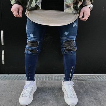 Slim Fit Ripped Jeans Denim Joggers Knee Holes Washed Destroyed Jeans