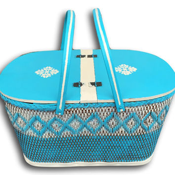 Vintage Hand Painted Stenciled Turquoise & White Picnic Basket