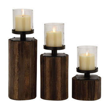 Classy Styled Wood Glass Metal Candle Holder