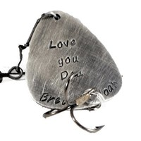 Love You Dad Personalized Silver Fishing Lure.