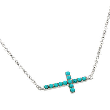 .925 Sterling Silver Rhodium Plated Sideways Cross with Turquoise Stones Pendant Necklace 18 Inches
