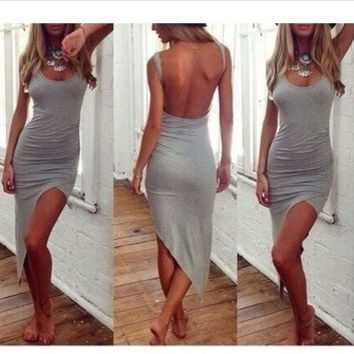 2015 New Fashion Women Striped Backless Dress European Sexy Beach Style Summer Strap Dress = 1753733700
