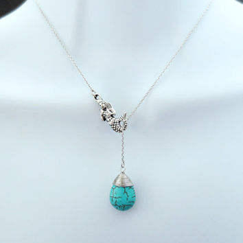 Mermaid, Turquoise, Lariat, Necklace, Earrings, Ariel voice, Mermaid, Necklace, The little mermaid, Ariel, Gift, Jewelry