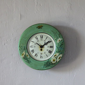 French Antique Tole Wall Clock Romantic Green Floral butterfly Shabby Chic