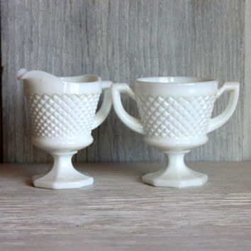 milk glass cream and sugar set // english hobnail footed cream and sugar // cottage shabby chic dining L