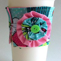Cartoon Cupcakes Coffee Cup Cozy / Neon Drink Sleeve