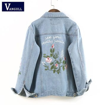 Women Floral Embroied Denim Bomber Jacket Ladies Elegant Autumn Outwear Female Vintage Fashion Coat Capa Mujer VANGULL 2018