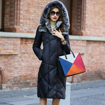 winter duck down jacket women long coat parkas thickening Female Warm Clothes Rabbit fur collar High Quality W28