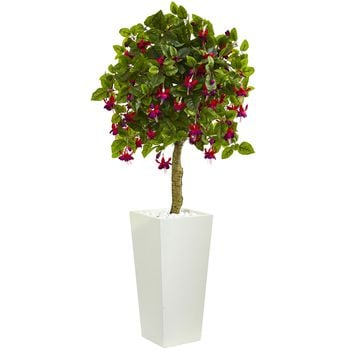 Artificial Tree -4 Foot Fuschia Tree In White Tower Planters